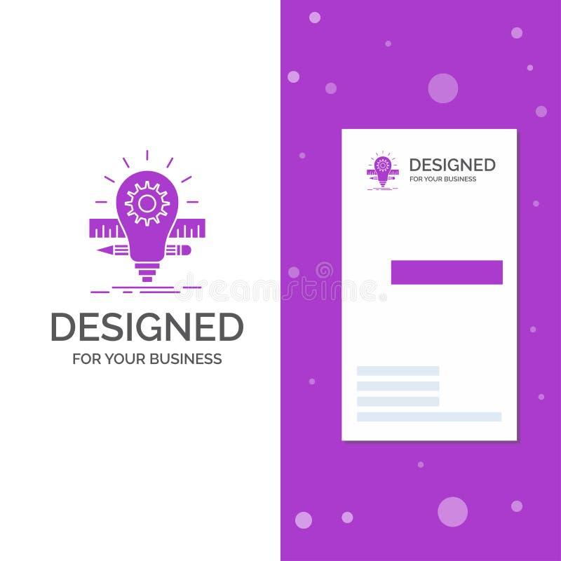Bedrijfsembleem voor Ontwikkeling, idee, bol, potlood, schaal Verticaal Purper Bedrijfs/Visitekaartjemalplaatje Creatieve achterg royalty-vrije illustratie