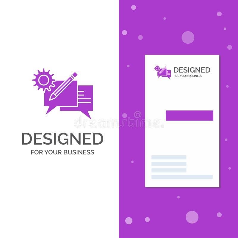 Bedrijfsembleem voor praatje, mededeling, bespreking, het plaatsen, bericht Verticaal Purper Bedrijfs/Visitekaartjemalplaatje cre stock illustratie