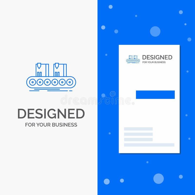 Bedrijfsembleem voor Riem, doos, transportband, fabriek, lijn Verticaal Blauw Bedrijfs/Visitekaartjemalplaatje vector illustratie
