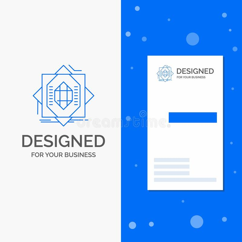 Bedrijfsembleem voor Samenvatting, kern, vervaardiging, vorming, het vormen zich Verticaal Blauw Bedrijfs/Visitekaartjemalplaatje stock illustratie