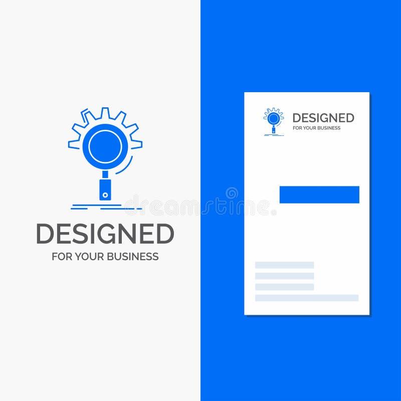 Bedrijfsembleem voor seo, onderzoek, optimalisering, proces, het plaatsen Verticaal Blauw Bedrijfs/Visitekaartjemalplaatje royalty-vrije illustratie