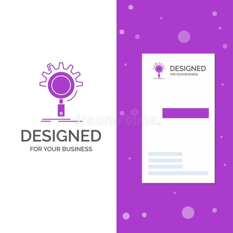 Bedrijfsembleem voor seo, onderzoek, optimalisering, proces, het plaatsen Verticaal Purper Bedrijfs/Visitekaartjemalplaatje creat vector illustratie