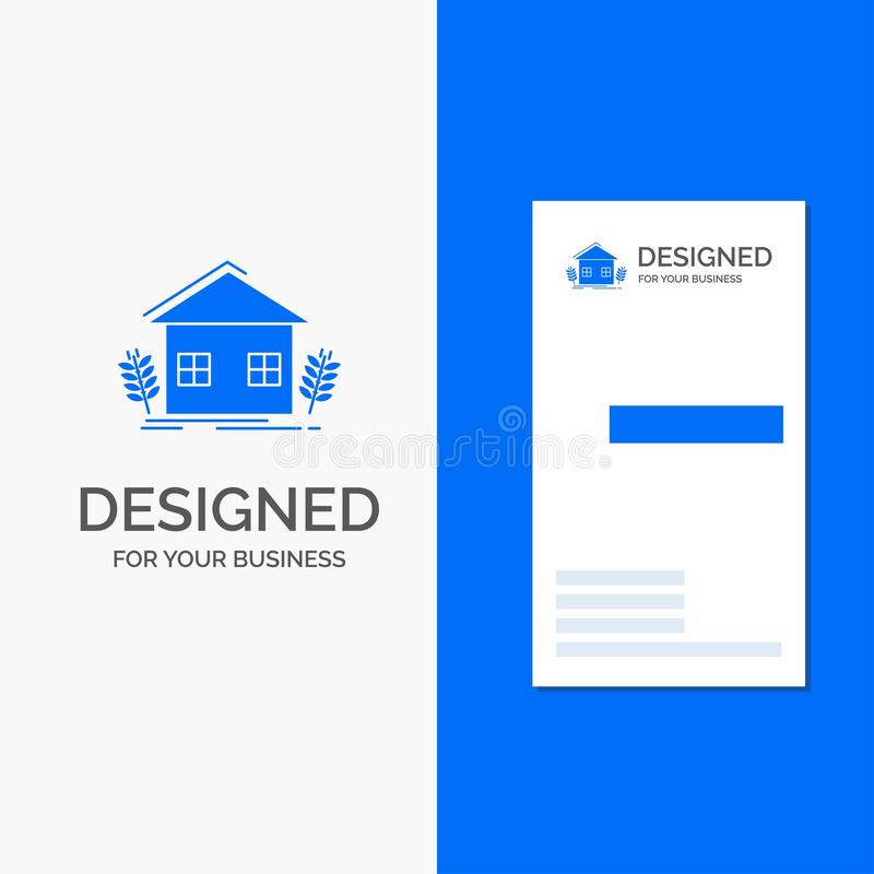 Bedrijfsembleem voor stedelijke landbouw, ecologie, milieu, de landbouw Verticaal Blauw Bedrijfs/Visitekaartjemalplaatje vector illustratie