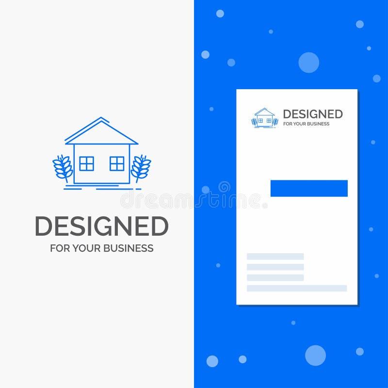 Bedrijfsembleem voor stedelijke landbouw, ecologie, milieu, de landbouw Verticaal Blauw Bedrijfs/Visitekaartjemalplaatje stock illustratie