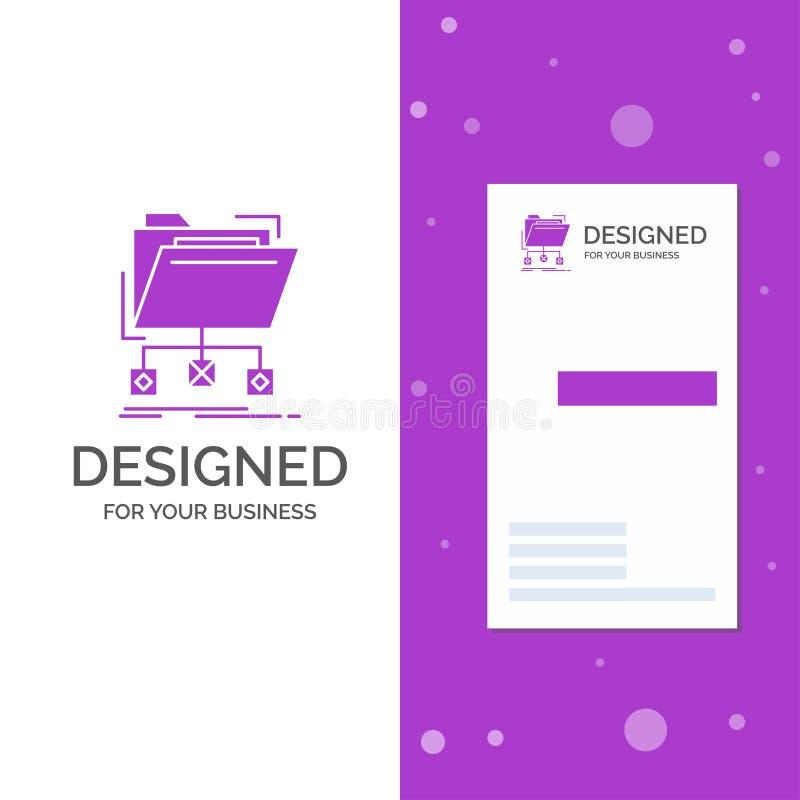 Bedrijfsembleem voor steun, gegevens, dossiers, omslag, netwerk Verticaal Purper Bedrijfs/Visitekaartjemalplaatje Creatieve achte vector illustratie