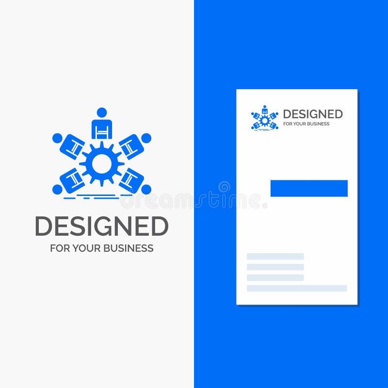 Bedrijfsembleem voor team, groep, leiding, zaken, groepswerk Verticaal Blauw Bedrijfs/Visitekaartjemalplaatje stock illustratie