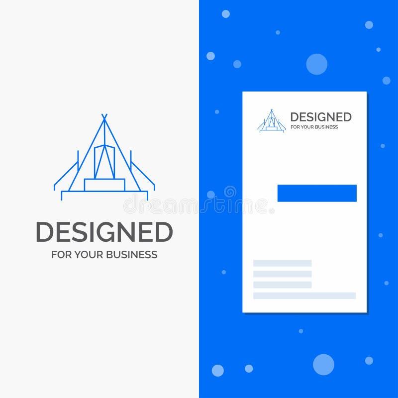 Bedrijfsembleem voor tent, het kamperen, kamp, kampeerterrein, openlucht Verticaal Blauw Bedrijfs/Visitekaartjemalplaatje vector illustratie