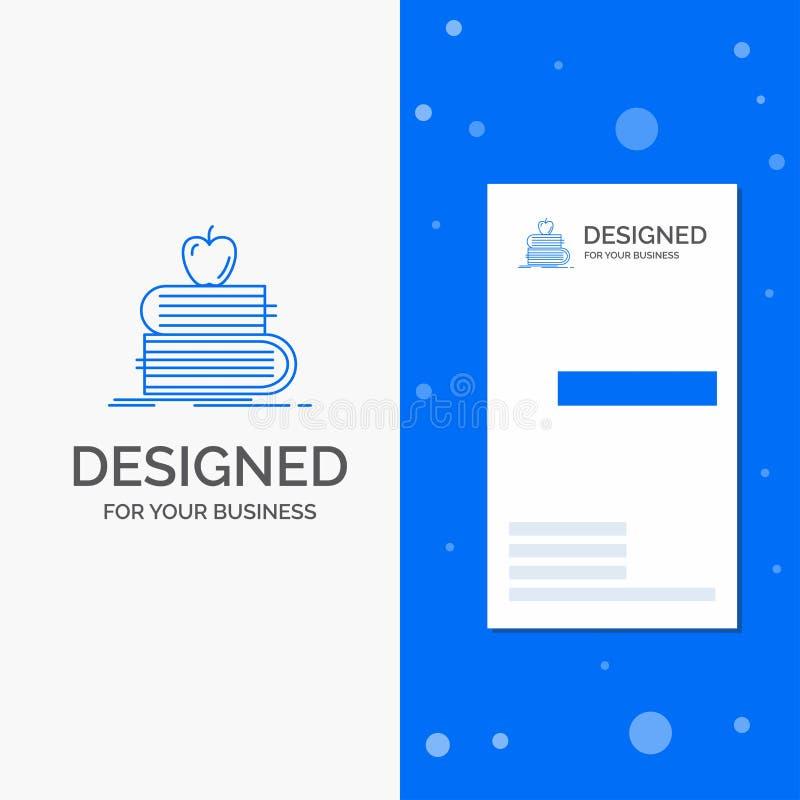 Bedrijfsembleem voor terug naar school, school, student, boeken, appel Verticaal Blauw Bedrijfs/Visitekaartjemalplaatje stock illustratie
