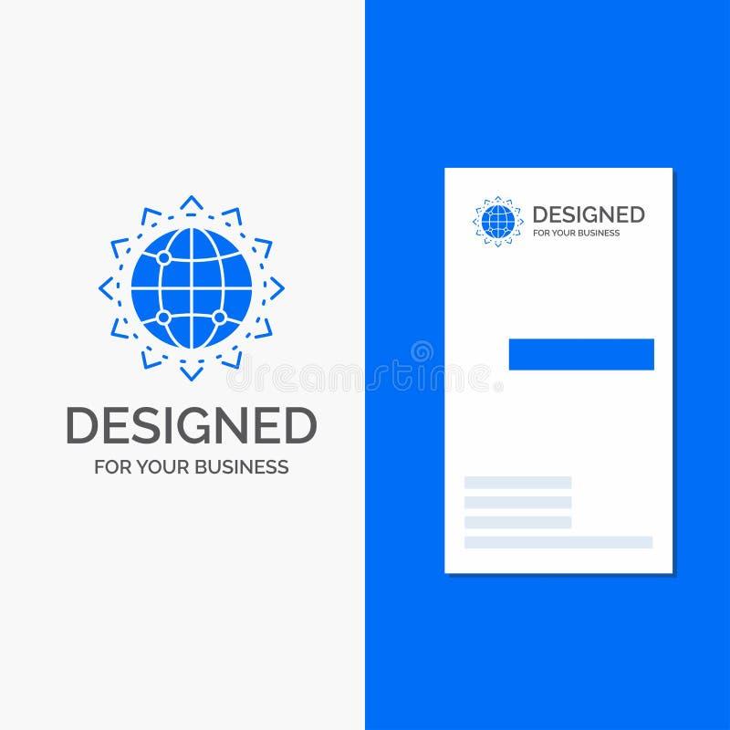 Bedrijfsembleem voor Wereld, bol, SEO, zaken, optimalisering Verticaal Blauw Bedrijfs/Visitekaartjemalplaatje royalty-vrije illustratie