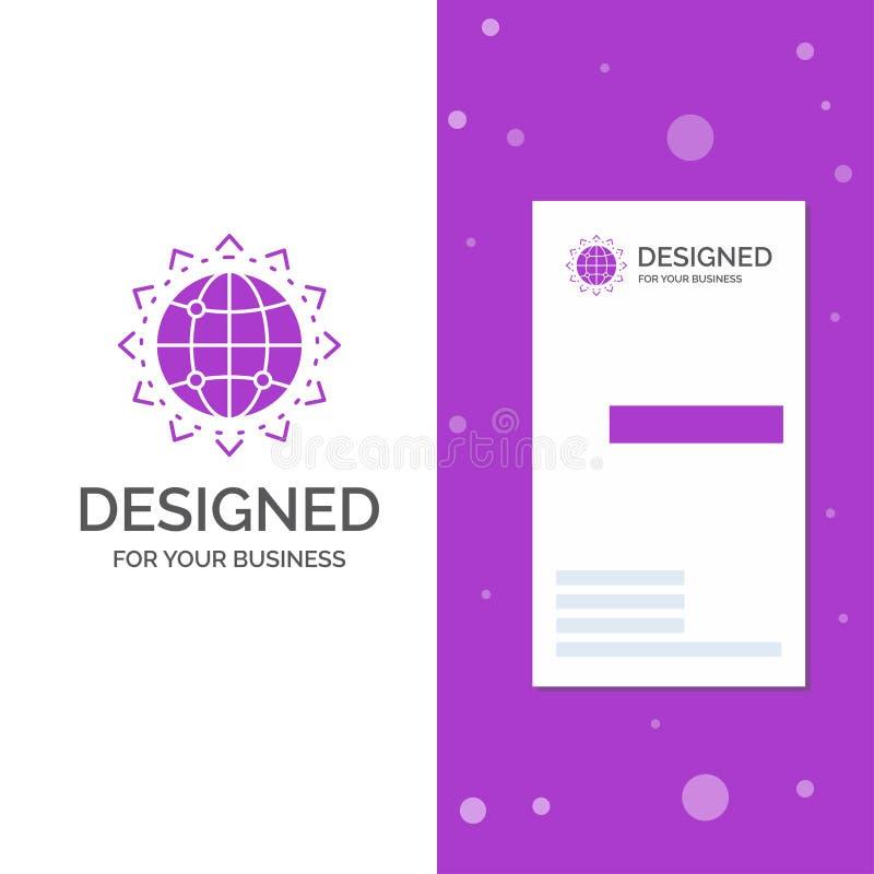 Bedrijfsembleem voor Wereld, bol, SEO, zaken, optimalisering Verticaal Purper Bedrijfs/Visitekaartjemalplaatje creatief royalty-vrije illustratie