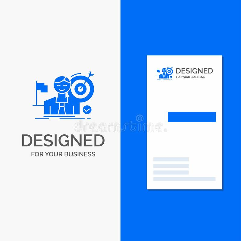 Bedrijfsembleem voor zaken, doel, klap, markt, succes Verticaal Blauw Bedrijfs/Visitekaartjemalplaatje stock illustratie