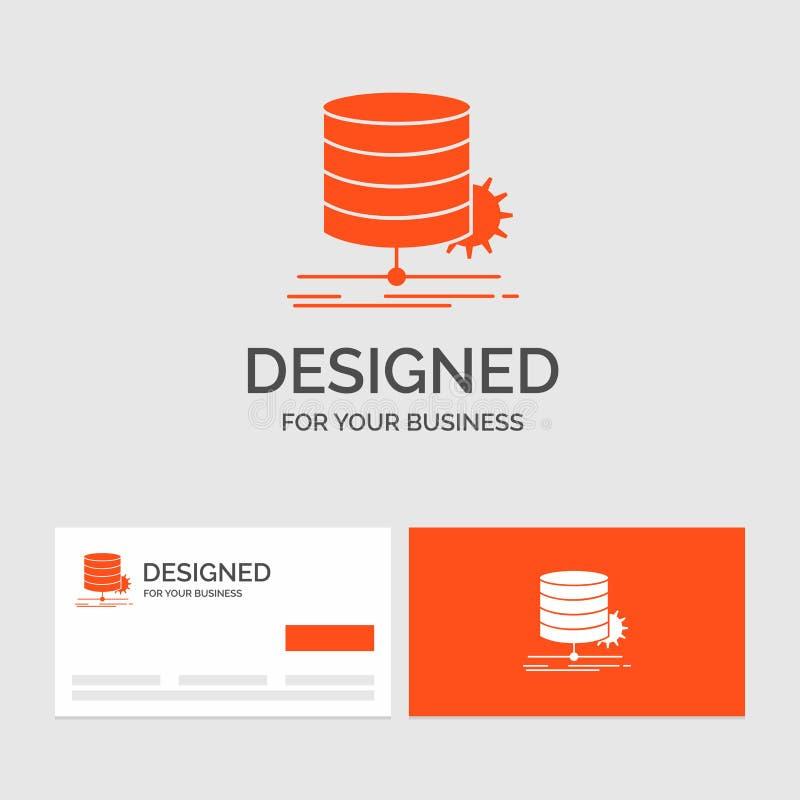 Bedrijfsembleemmalplaatje voor Algoritme, grafiek, gegevens, diagram, stroom Oranje Visitekaartjes met het malplaatje van het Mer vector illustratie