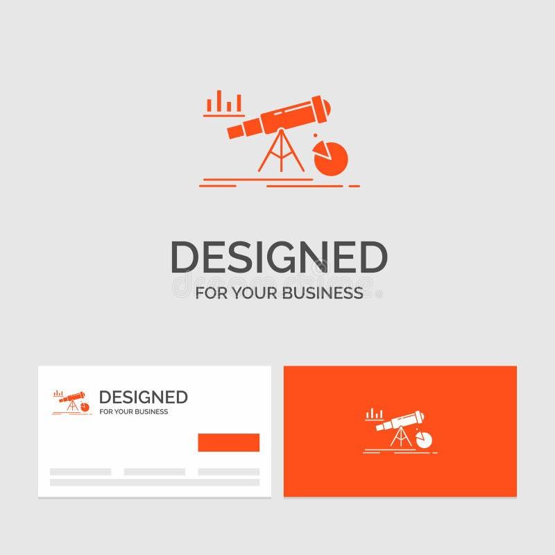 Bedrijfsembleemmalplaatje voor Analytics, financiën, voorspelling, markt, voorspelling Oranje Visitekaartjes met het malplaatje v stock illustratie