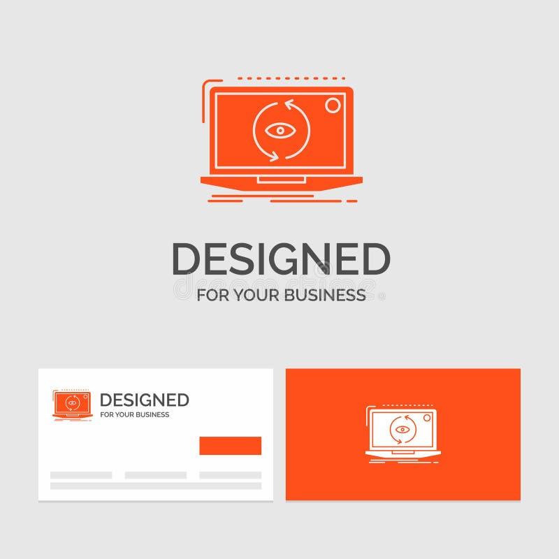 Bedrijfsembleemmalplaatje voor App, nieuwe toepassing, software, update Oranje Visitekaartjes met het malplaatje van het Merkembl vector illustratie