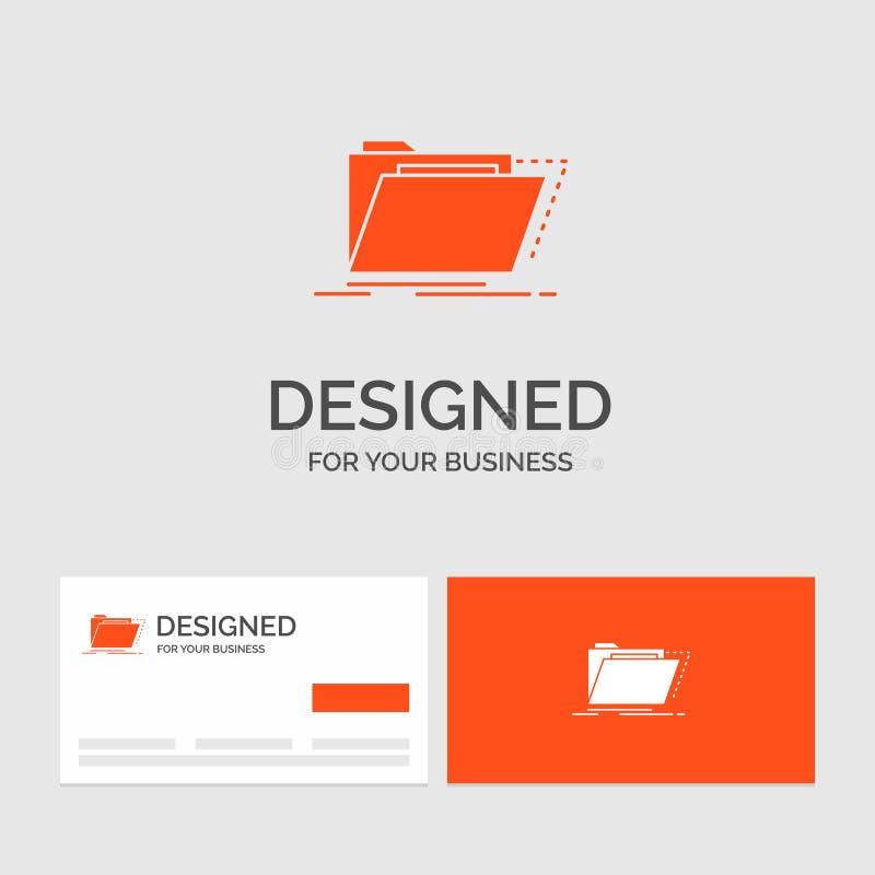Bedrijfsembleemmalplaatje voor Archief, catalogus, folder, dossiers, omslag Oranje Visitekaartjes met het malplaatje van het Merk stock illustratie