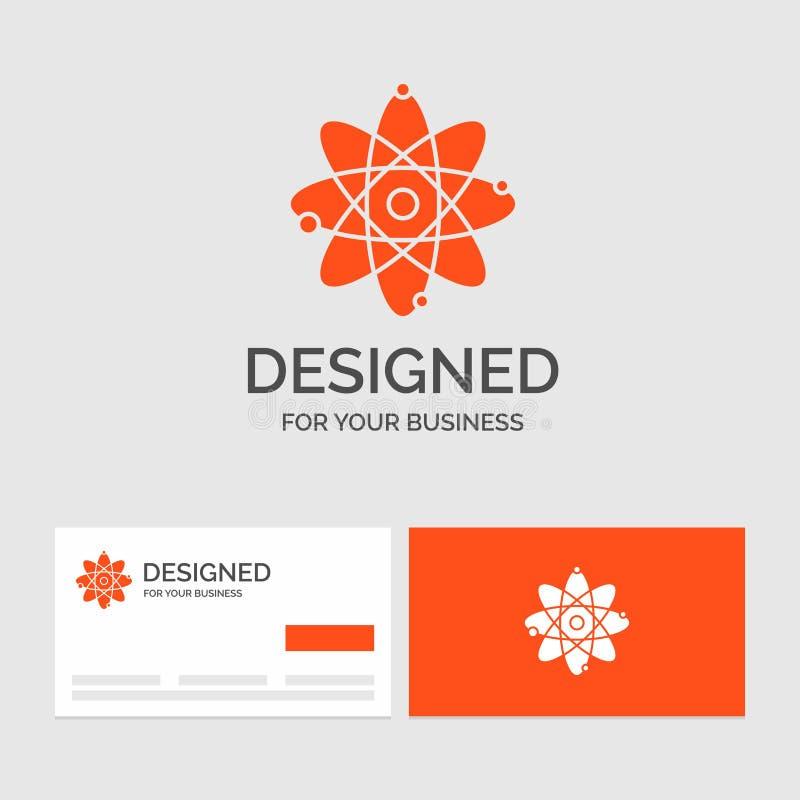 Bedrijfsembleemmalplaatje voor atoom, kern, molecule, chemie, wetenschap Oranje Visitekaartjes met het malplaatje van het Merkemb stock illustratie