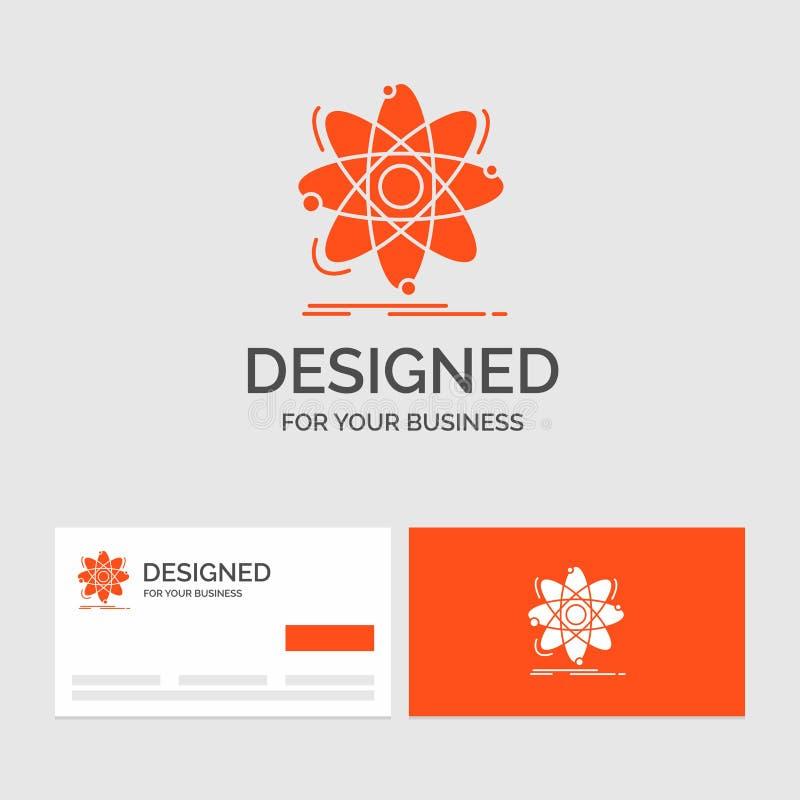 Bedrijfsembleemmalplaatje voor Atoom, wetenschap, chemie, Fysica, kern Oranje Visitekaartjes met het malplaatje van het Merkemble stock illustratie
