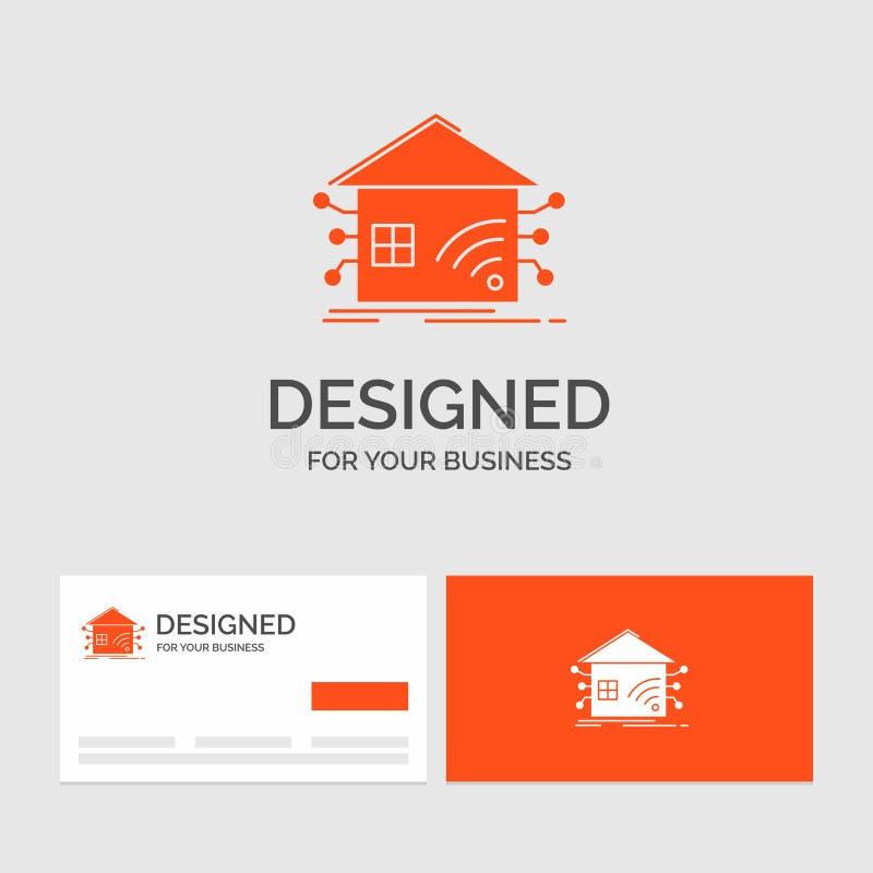 Bedrijfsembleemmalplaatje voor Automatisering, huis, slim huis, netwerk Oranje Visitekaartjes met het malplaatje van het Merkembl vector illustratie
