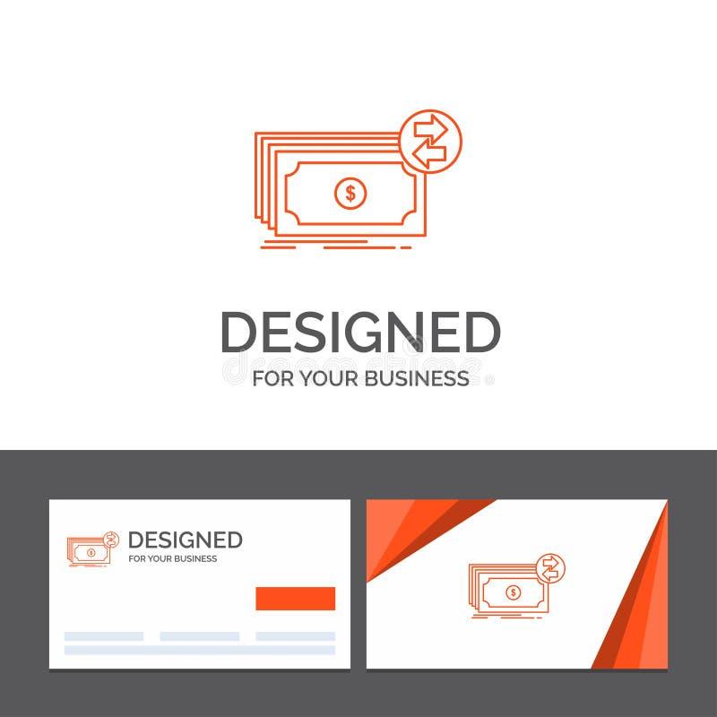 Bedrijfsembleemmalplaatje voor Bankbiljetten, contant geld, dollars, stroom, geld Oranje Visitekaartjes met het malplaatje van he vector illustratie