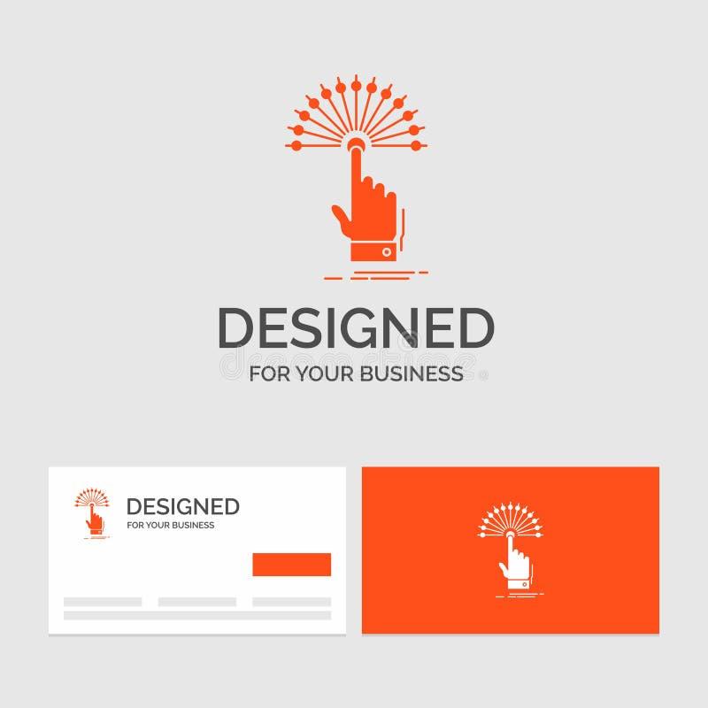 Bedrijfsembleemmalplaatje voor bereik, Aanraking, analitische bestemming, digitaal, Oranje Visitekaartjes met het malplaatje van  vector illustratie