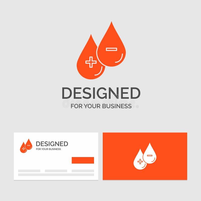 Bedrijfsembleemmalplaatje voor bloed, daling, vloeistof, plus, Minus Oranje Visitekaartjes met het malplaatje van het Merkembleem stock illustratie