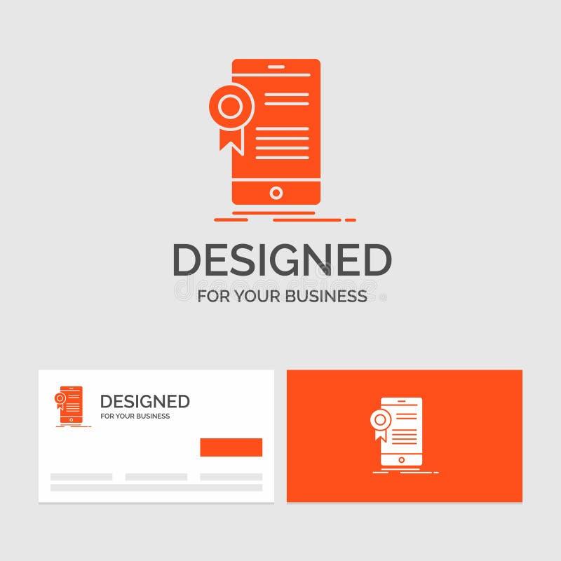 Bedrijfsembleemmalplaatje voor certificaat, certificatie, App, toepassing, goedkeuring Oranje Visitekaartjes met het malplaatje v vector illustratie