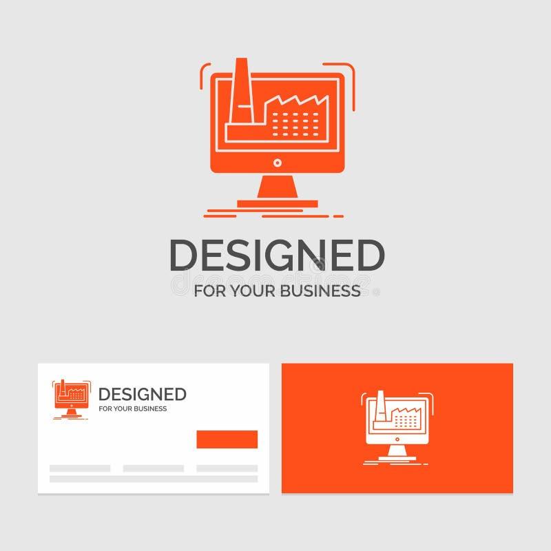 Bedrijfsembleemmalplaatje voor digitaal, fabriek, productie, productie, product Oranje Visitekaartjes met het malplaatje van het  stock illustratie