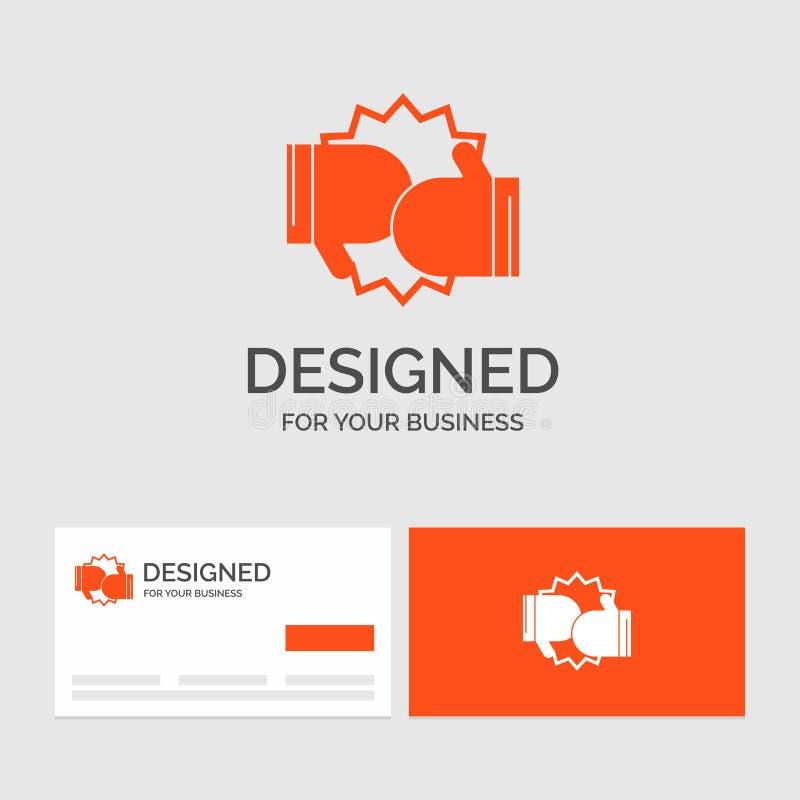 Bedrijfsembleemmalplaatje voor Doos, het in dozen doen, de concurrentie, strijd, handschoenen Oranje Visitekaartjes met het malpl vector illustratie