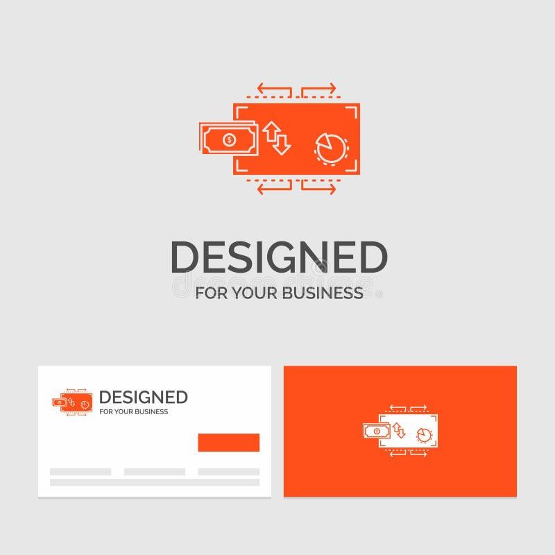 Bedrijfsembleemmalplaatje voor Financi?n, stroom, marketing, geld, betalingen Oranje Visitekaartjes met het malplaatje van het Me vector illustratie