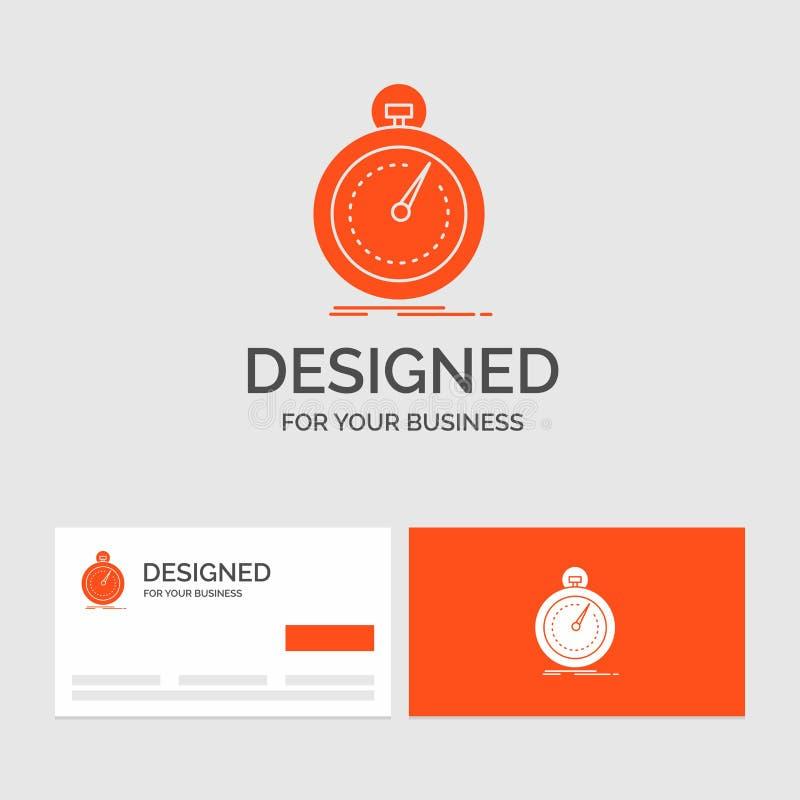 Bedrijfsembleemmalplaatje voor Gedaane, snelle, optimalisering, snelheid, sport Oranje Visitekaartjes met het malplaatje van het  royalty-vrije illustratie