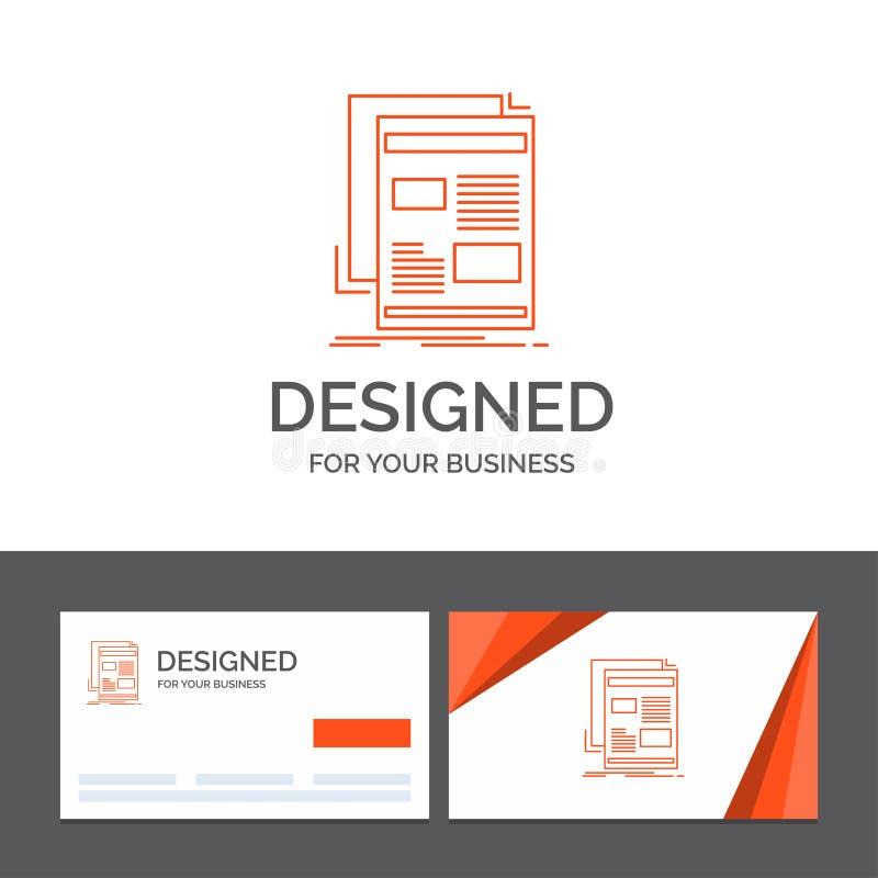 Bedrijfsembleemmalplaatje voor nieuws, bulletin, krant, media, document Oranje Visitekaartjes met het malplaatje van het Merkembl stock illustratie