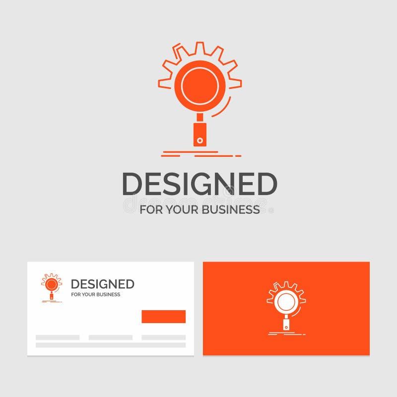 Bedrijfsembleemmalplaatje voor seo, onderzoek, optimalisering, proces, het plaatsen Oranje Visitekaartjes met het malplaatje van  stock illustratie