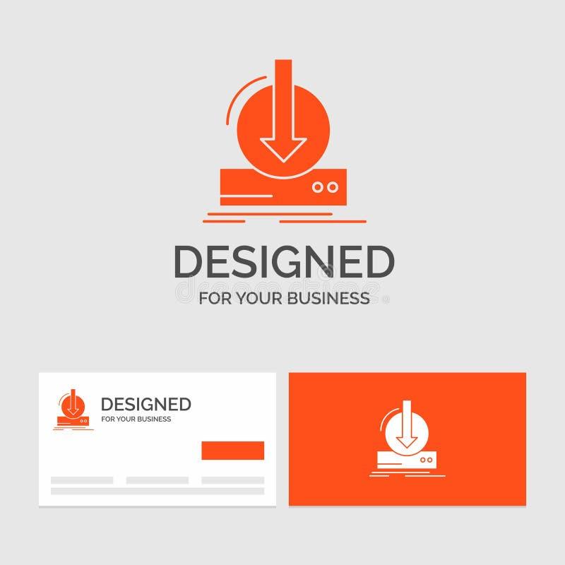 Bedrijfsembleemmalplaatje voor Toevoeging, inhoud, dlc, download, spel Oranje Visitekaartjes met het malplaatje van het Merkemble vector illustratie