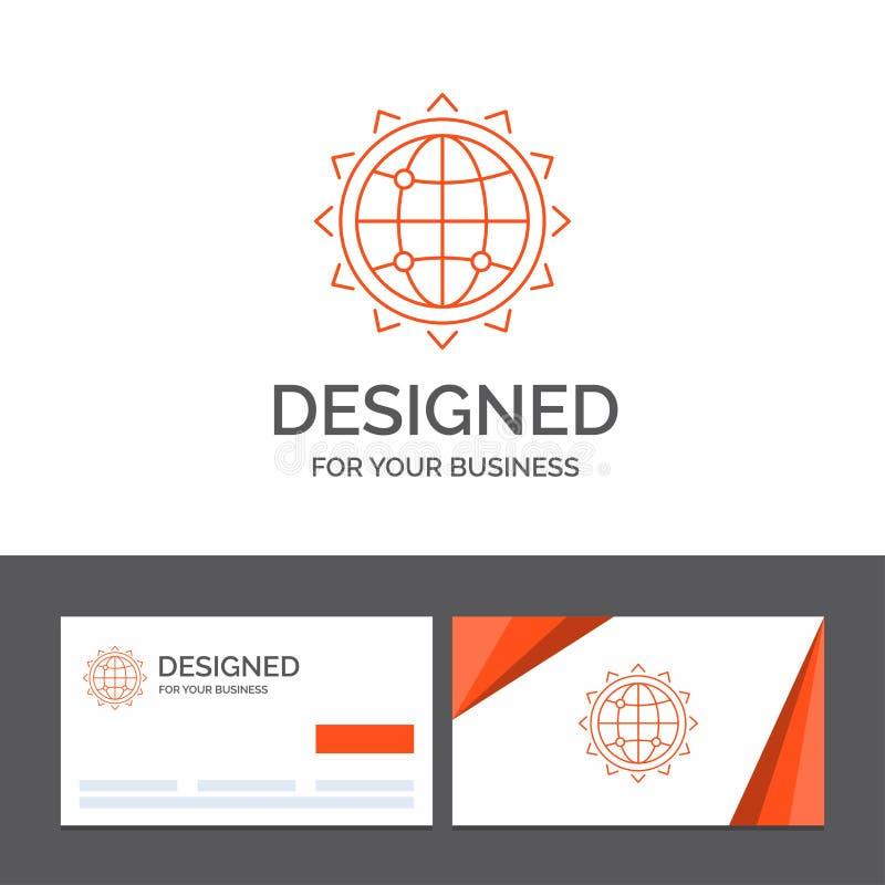 Bedrijfsembleemmalplaatje voor Wereld, bol, SEO, zaken, optimalisering Oranje Visitekaartjes met het malplaatje van het Merkemble vector illustratie