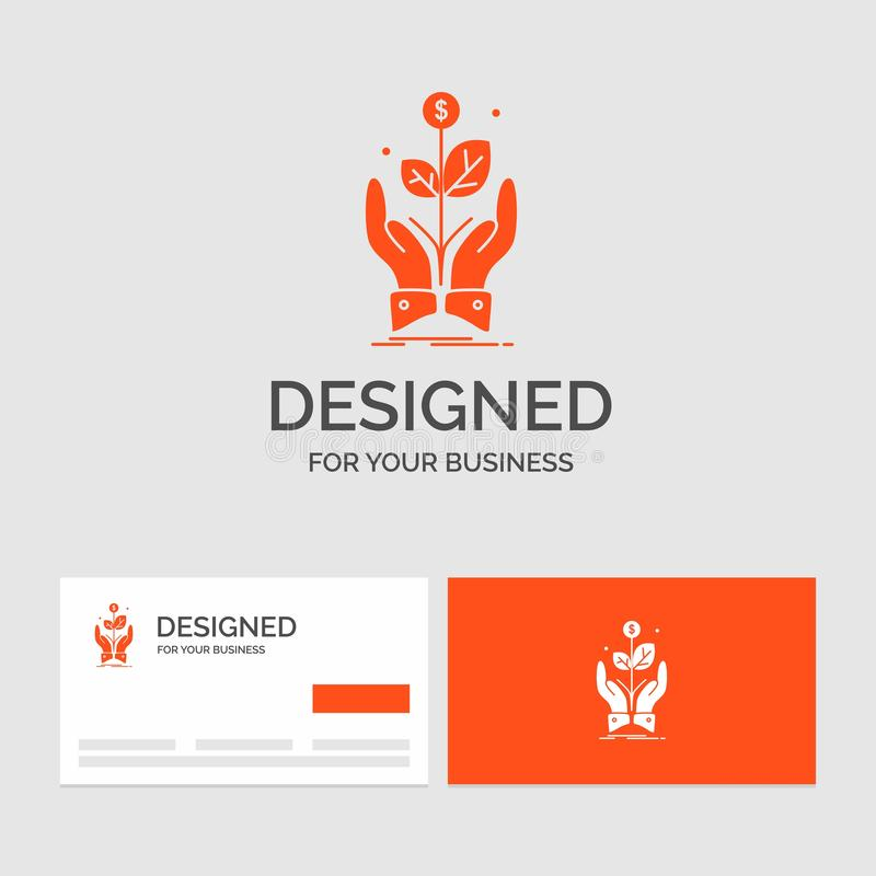 Bedrijfsembleemmalplaatje voor zaken, bedrijf, de groei, installatie, stijging Oranje Visitekaartjes met het malplaatje van het M royalty-vrije illustratie