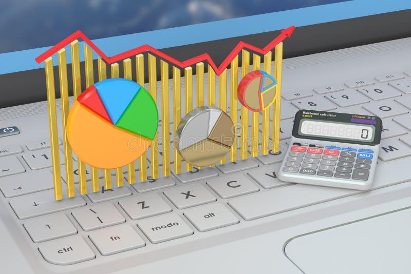 Bedrijfsfinanciën, bankwezen en statistiekconcept op laptops k vector illustratie