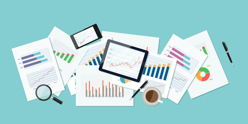 Bedrijfsfinanciën en investeringsbanner en mobiel apparaat voor zaken rapportdocument de grafiek analyseert achtergrond