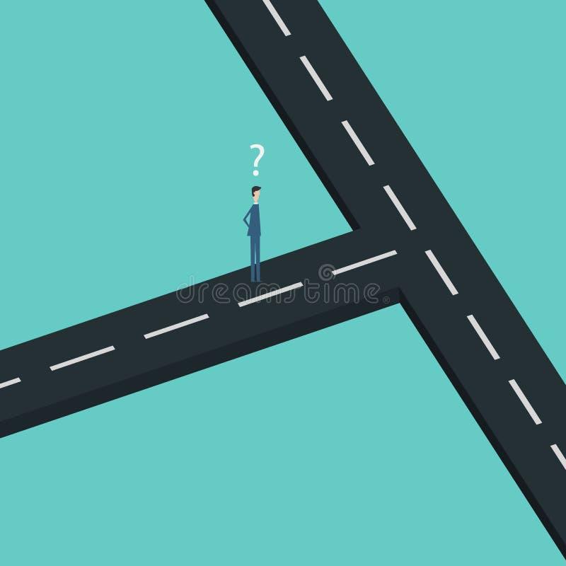 Bedrijfsfinanciën twee zakenman Confused bij het kruispunt royalty-vrije illustratie