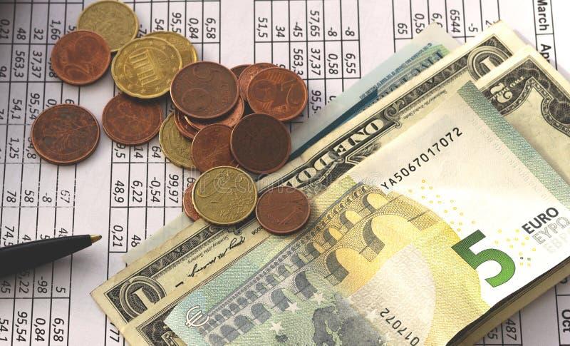 Bedrijfsfinanciënbesparing het concept van de planningsrekening boekhouding, bedrijfsberekeningen, contant geld het tellen stock foto's