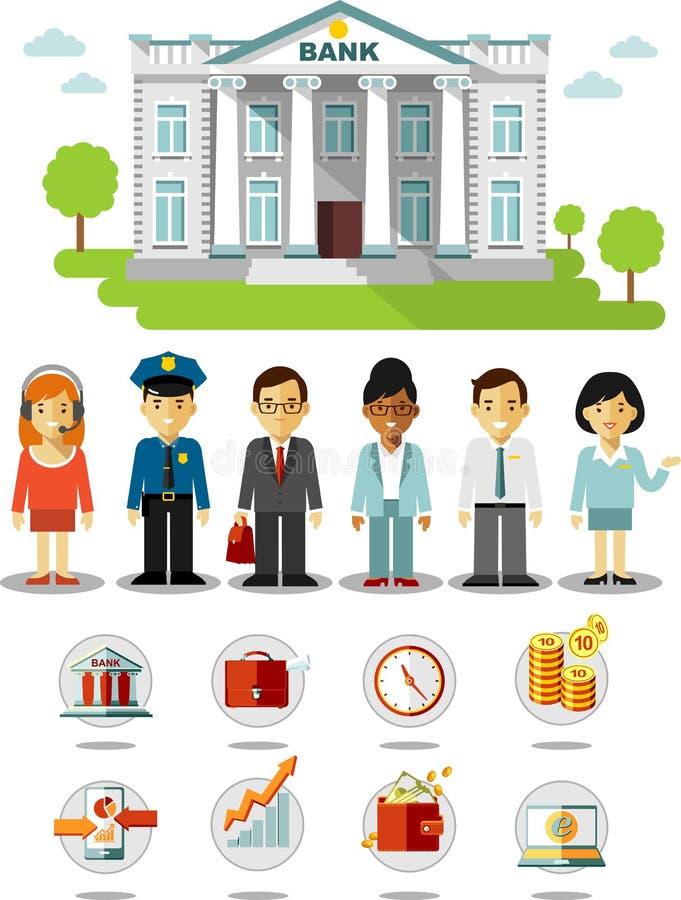 Bedrijfsfinanciënconcept met mensen, pictogrammen en de bankbouw stock illustratie