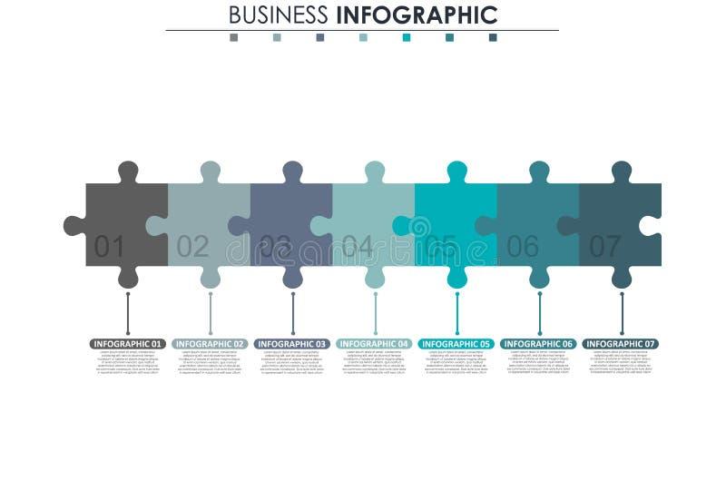Bedrijfsgegevens, grafiek Abstracte elementen van grafiek, diagram met 7 stappen, strategie, opties, delen of processen Vector stock illustratie