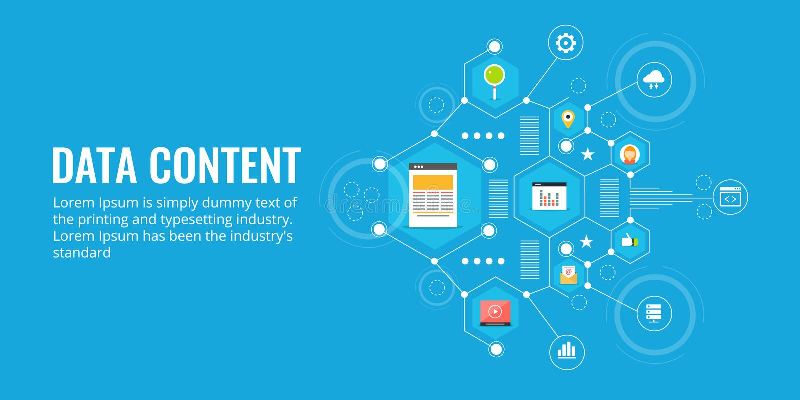Bedrijfsgegevens, marketing rapport, digitale inhoud en informatie, analyse, onderzoekconcept Vlakke ontwerp vectorbanner vector illustratie