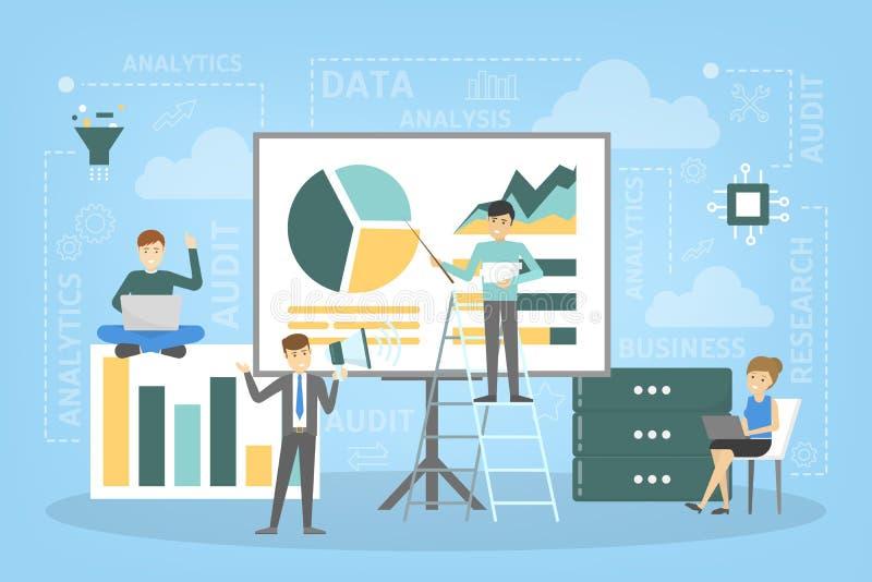 Bedrijfsgegevensanalyse en de illustratie van het analyticsconcept stock illustratie