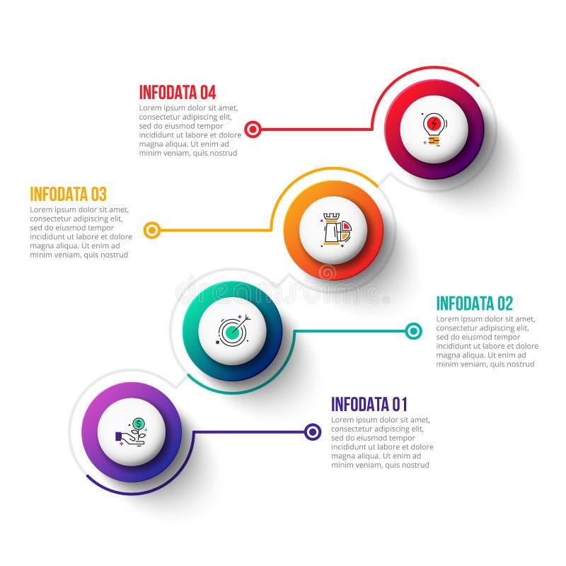 Bedrijfsgegevensvisualisatie Abstracte elementen van grafiek, diagram met 4 stappen, opties, delen of processen royalty-vrije illustratie