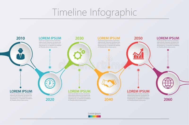 Bedrijfsgegevensvisualisatie chronologie infographic die pictogrammen voor abstract malplaatje worden ontworpen als achtergrond vector illustratie