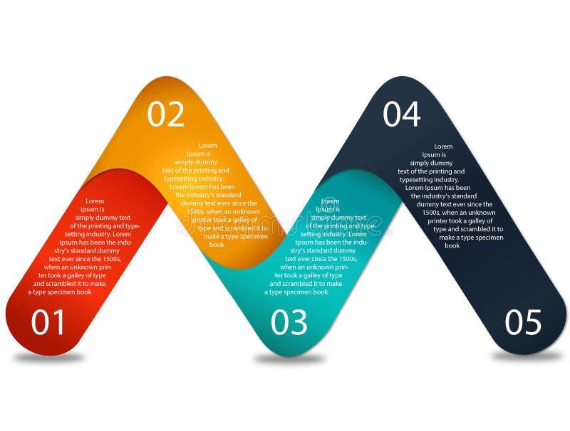 Bedrijfsgegevensvisualisatie Procesgrafiek Abstracte elementen van grafiek, diagram met stappen, opties, delen of processen Vecto stock illustratie