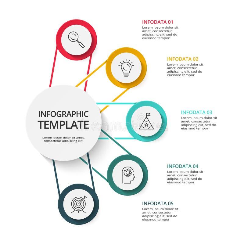 Bedrijfsgegevensvisualisatie Procesgrafiek Elementen van grafiek, diagram met 5 stappen, opties, delen of processen stock illustratie