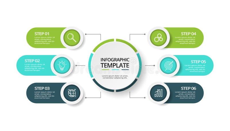 Bedrijfsgegevensvisualisatie Procesgrafiek Elementen van grafiek, diagram met 6 stappen, opties, delen of processen royalty-vrije illustratie
