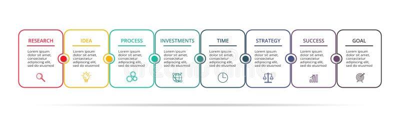 Bedrijfsgegevensvisualisatie Procesgrafiek Elementen van grafiek, diagram met 8 stappen, opties, delen of processen vector illustratie