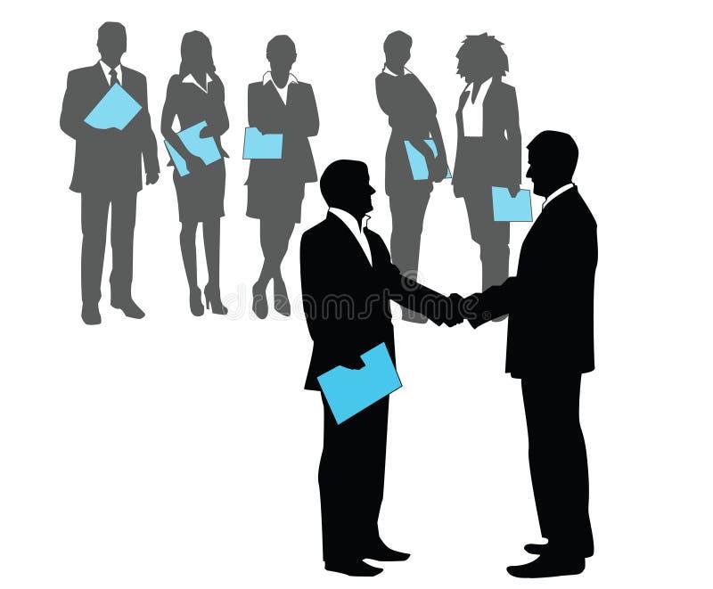 Bedrijfsgesprek - mensensilhouet royalty-vrije illustratie